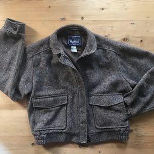 Woolrich L  brown/gray tweed wool Bomber Jacket